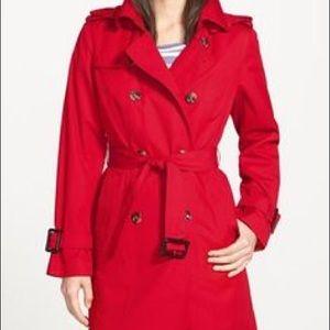 London Fog red raincoat